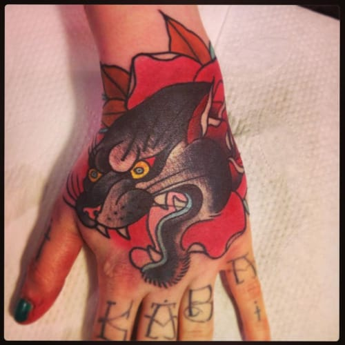 Neo-Traditional Panther Tattoo by Alix Ge