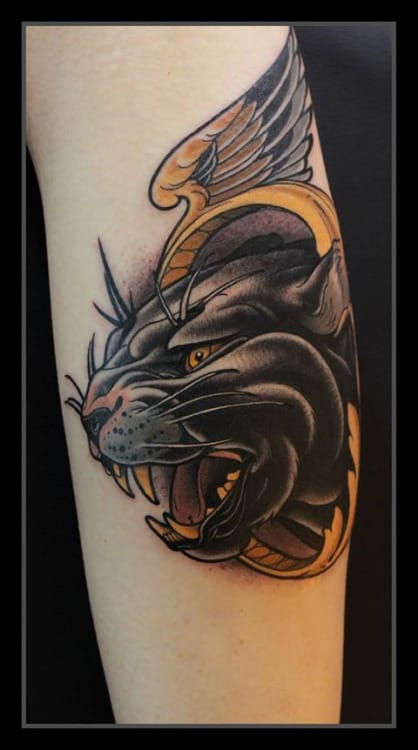 Neo-Traditional Panther Tattoo by Daniel Gensch