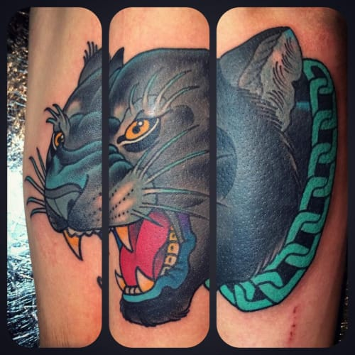 Neo-Traditional Panther Tattoo by Jack Goks Pearce