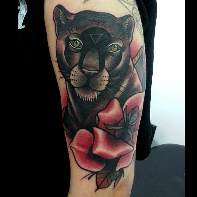 Neo-Traditional Panther Tattoo by Toni Donaire