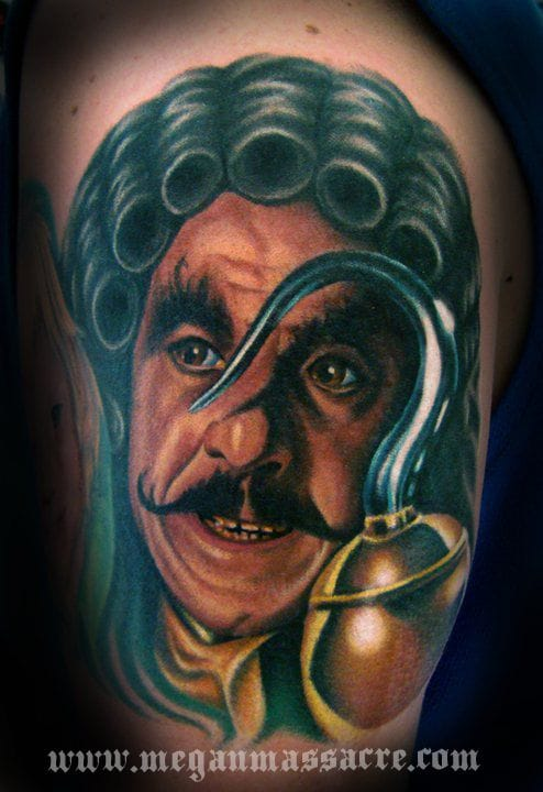 Amazing realistic portrait of Dustin Hoffman in movie Hook by Megan Massacre!