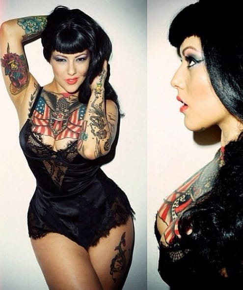 Lourdes Dodds is a classic pin up beauty with awesome tattoos