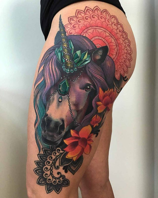 Colorful side tattoos are so impressive. This unicorn side tattoo by Miryam Lumpini #unicorn #color #ornaments #flower #animal #mandala