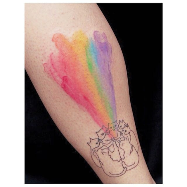 Rainbow cats tattoo