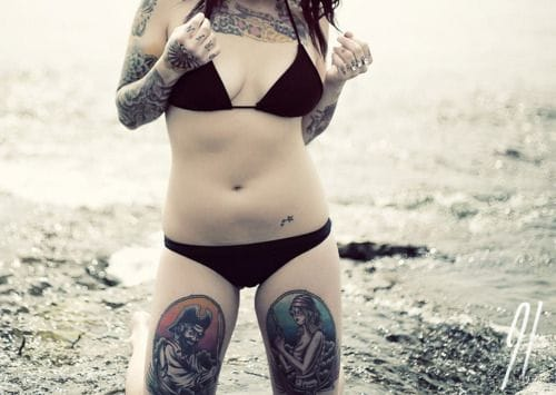 Great pirate thigh tattoos!