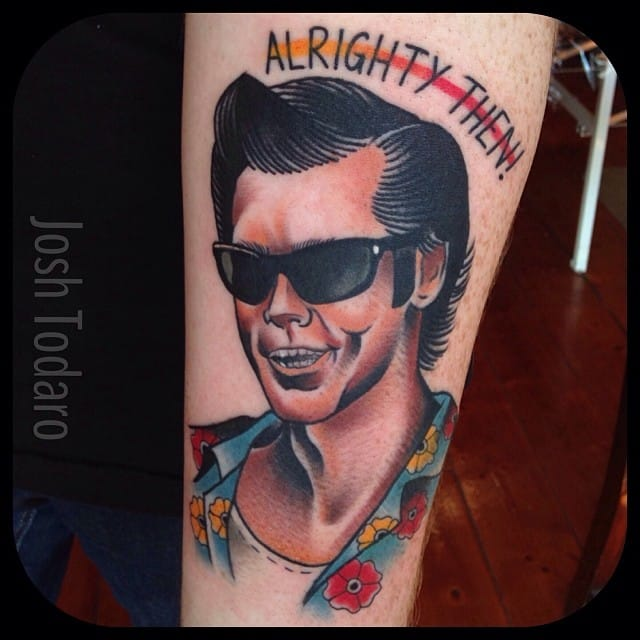 Traditional Ace Ventura Tattoo by Josh Todaro
