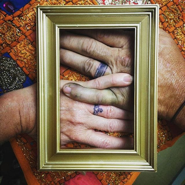 Indeed, you can ink classic wedding rings. Remember: it's not the design that is important. It's the depth of your feelings and your commitment to each other! Via Tessy Mitchum.