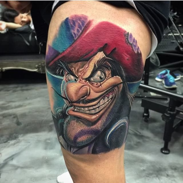 Sick tattoo by Roman Abrego inspired by art of Nic Chapuis.