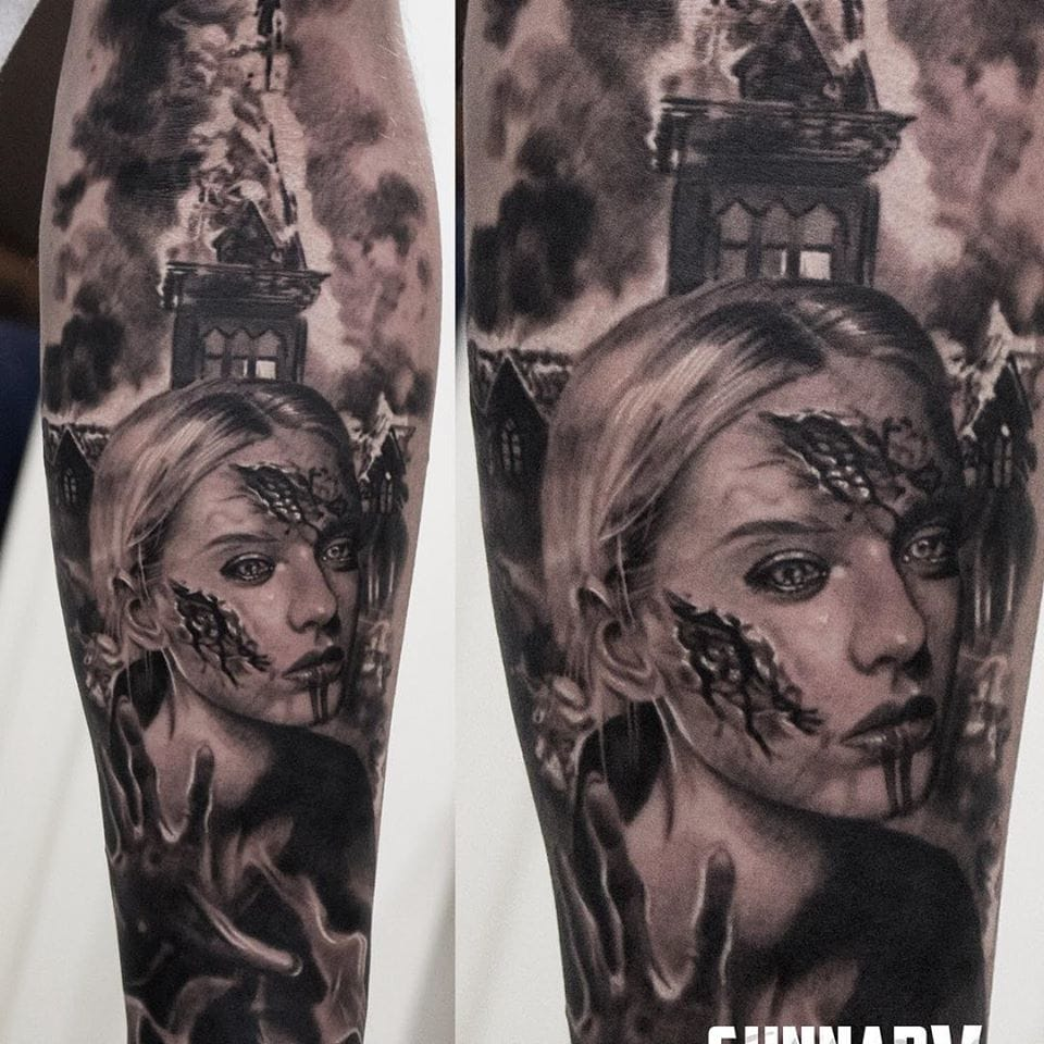 Church tattoos are often teaming well with blasphemy... By Gunnar V.