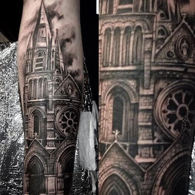 Black and grey tattoo by Lucy Parlett.