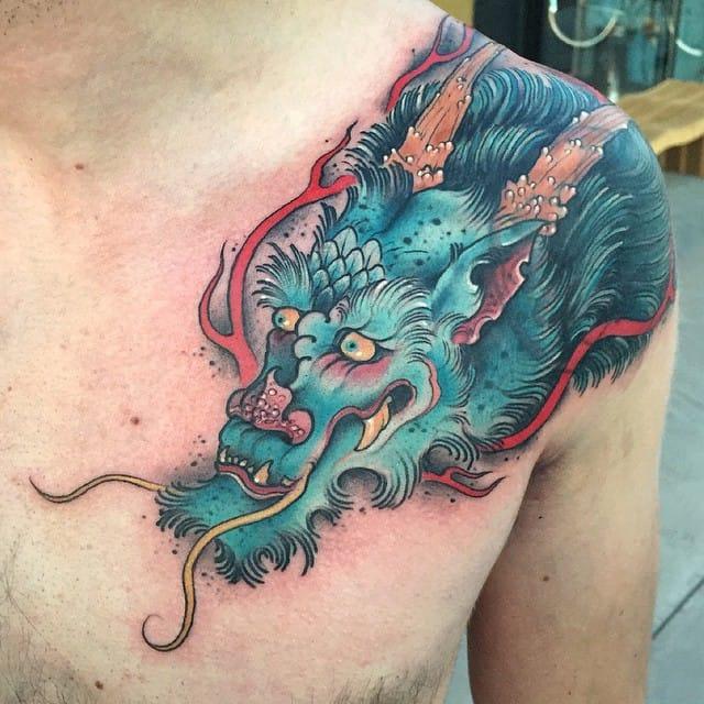 Neotraditional style traditional Japanese dragon by Jonathan Penchoff aka Earthgrasper