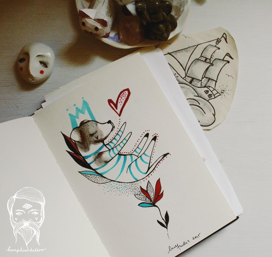 A sketch and photo by Bumpkin Tattoo. Inspiration...