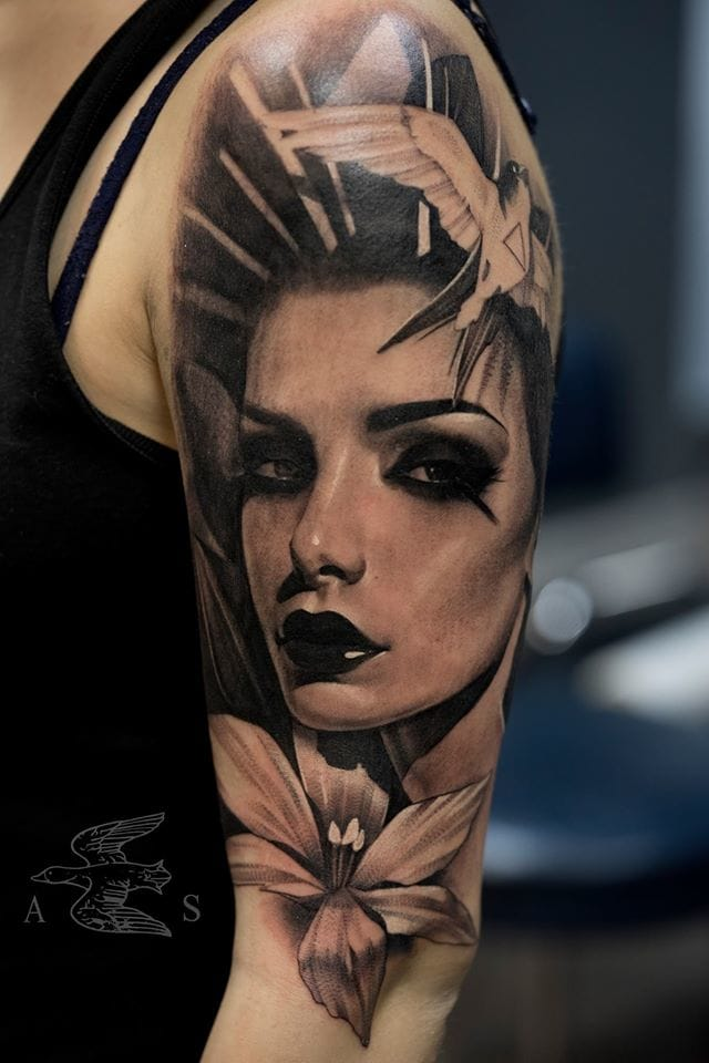 Great composition. Nature inspired realistic portrait tattoo
