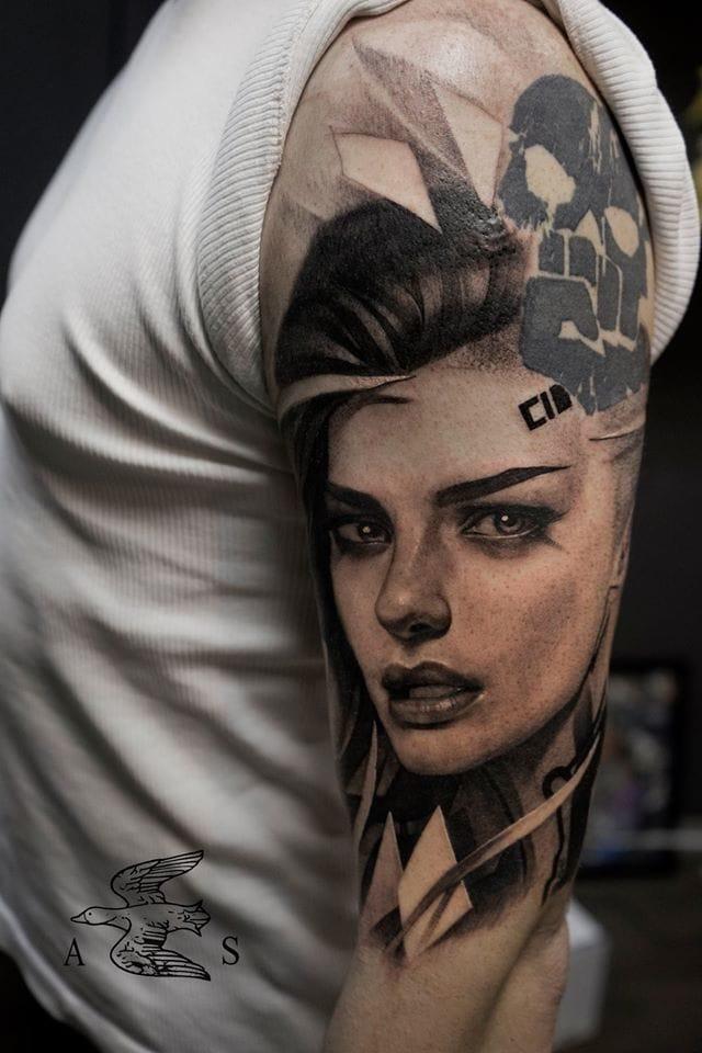 Charming and creative portrait tattoo