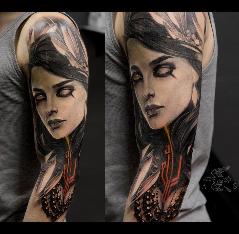 Sci-fi goddess tattoo