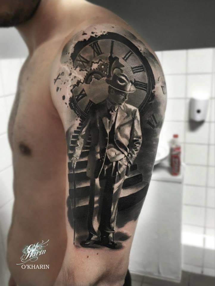 Great piece, black and white tattoo by Aleksandr O'kharin