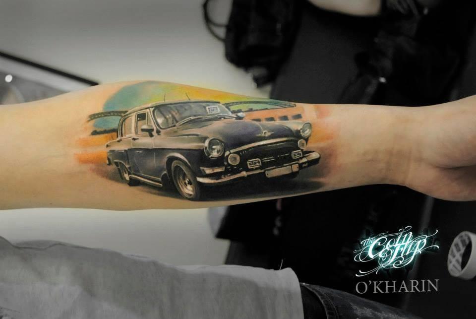 Realistic vintage car tattoo by Aleksandr O'kharin