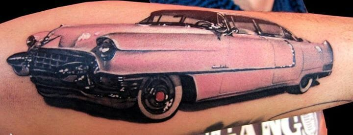 Cadillacs look badass in any color! Even pink! Tattoo by Matteo Pasqualin.