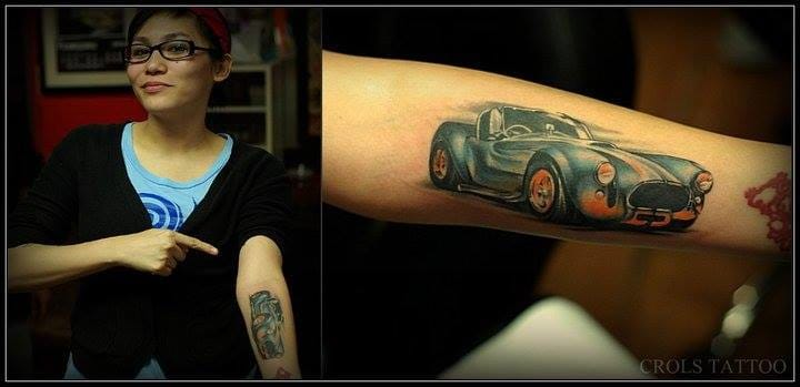 This is our good friend Mia with a Shelby Cobra on her forearm done by Carlo Gabiana in Cebu city, Philippines 'cause her husband's name is also Shelby! Cooolio!!!
