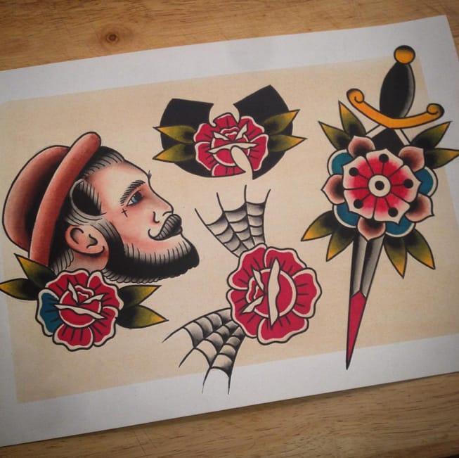 Traditional tattoo flash by Brad Murphy.