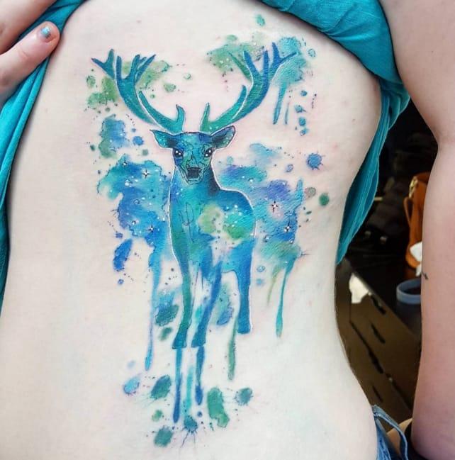 Watercolour stag by Joanne Baker, UK.
