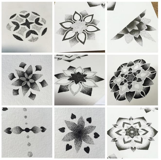 Dotwork shade tattoo designs by Lydia Amor, UK.