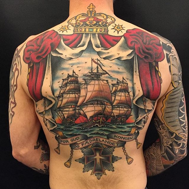 Awesome ship back tattoo by Zooki