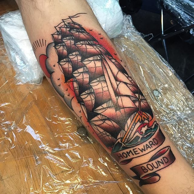 Homeward Bound, ship tattoo, lettering tattoo by Zooki