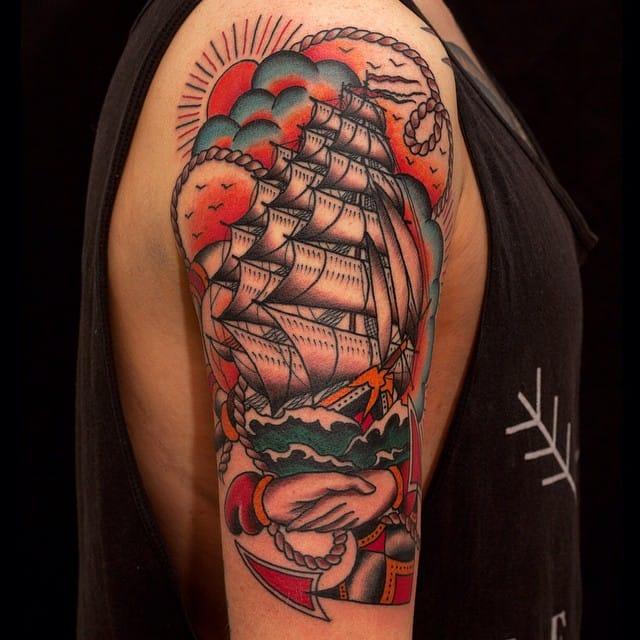 Amazing ship tattoo by Zooki