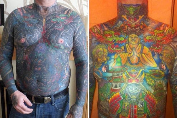 This photo shows one one incarnation on the body suit to the cover up how it looks today