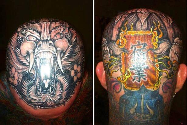 Pretty bad-ass cranium tattoo must of hurt like hell!