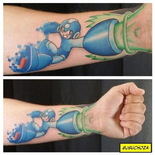 Megaman tattoo by Josh Suchoza of Off the Map tattoo in Pittsburgh, PA.