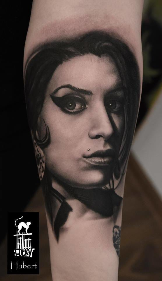 Black and grey portrait by Hubert.