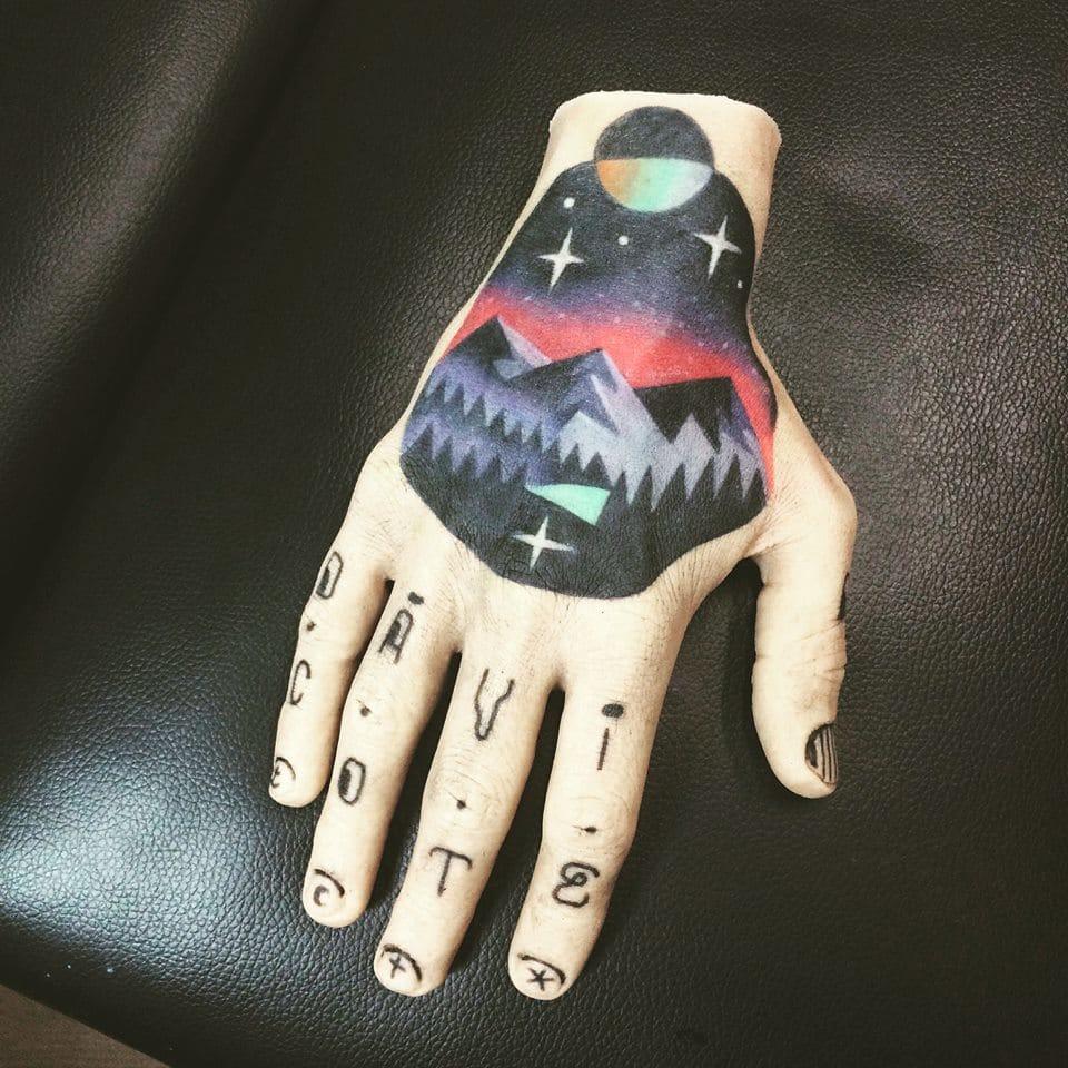 Work in progress tattooed hand by David Cote. Photo: Facebook Event.