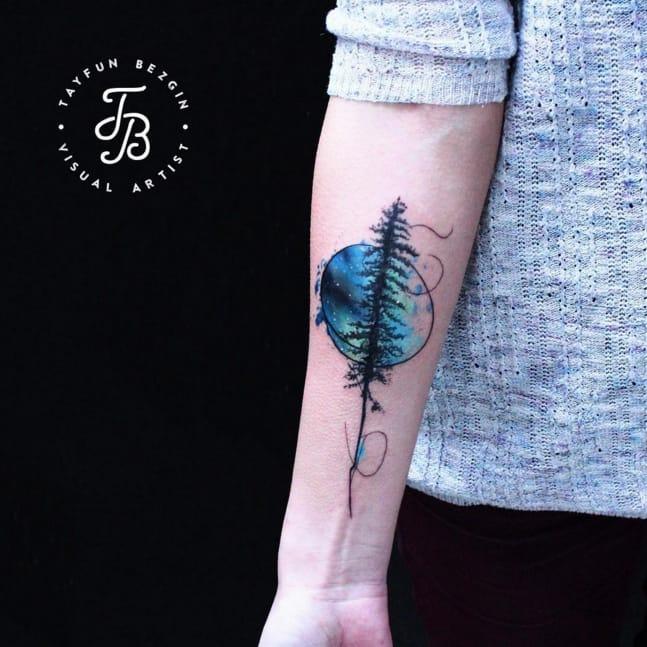 Northern Lights and tree tattoo