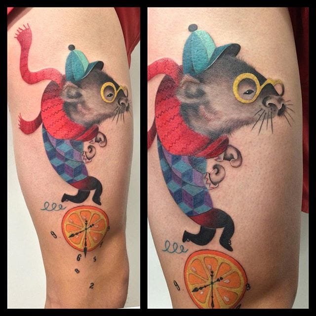 Vibrant and Illustrative Colorful Tattoos by Amanda Chanfreau