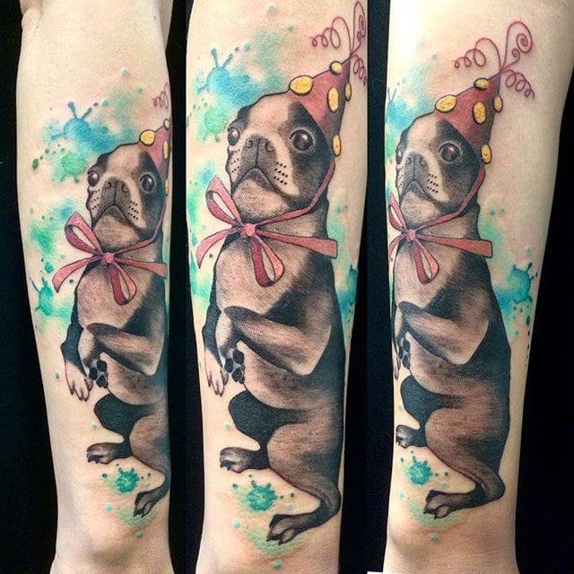 Cool Pug tattoo by Amanda Chanfreau.