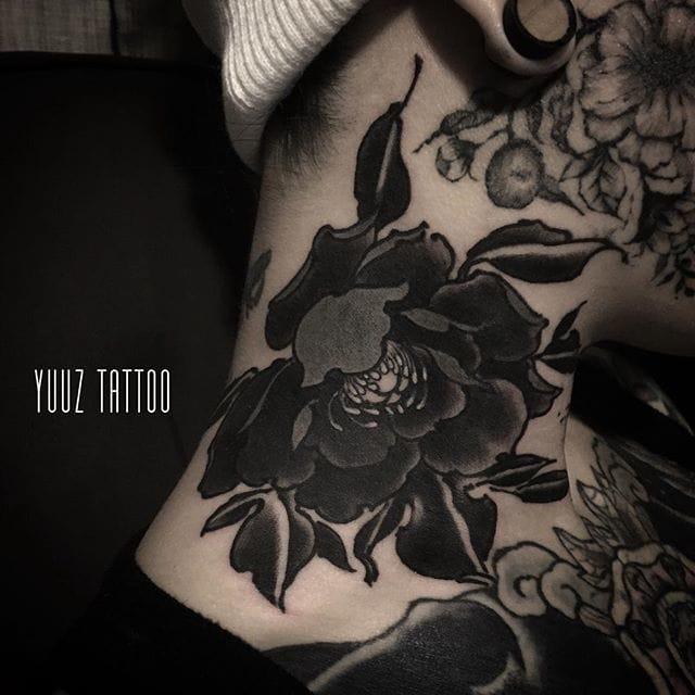 Neck peony tattoo by Yuuz