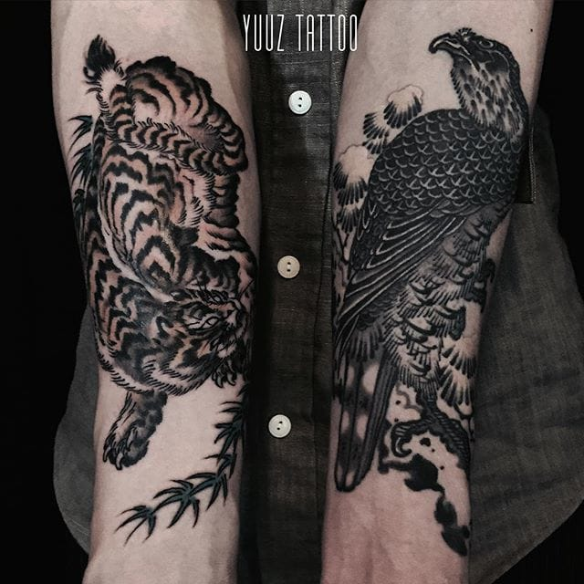 Tiger and Hawk on forearms by Yuuz