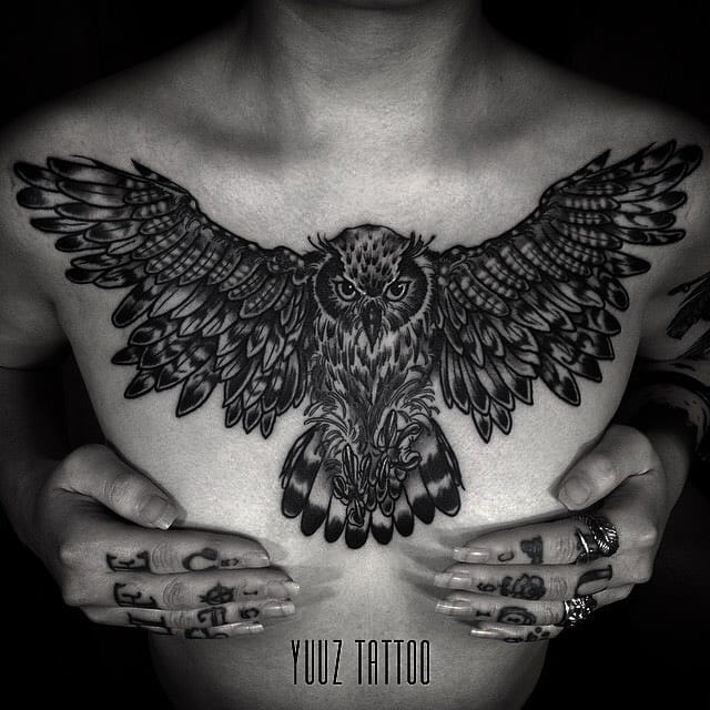 Awesome owl chest tattoo by Yuuz.