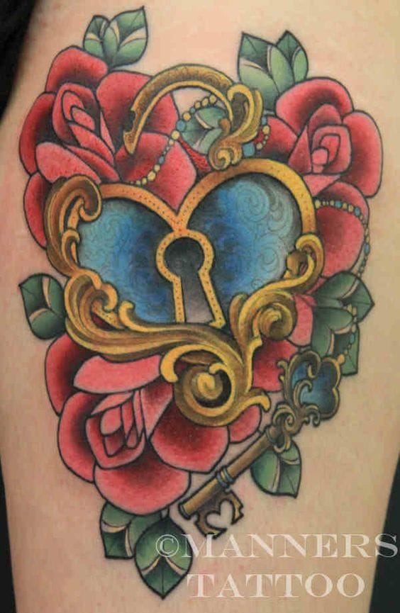 Neotraditional heart locket and roses by Alison Manners