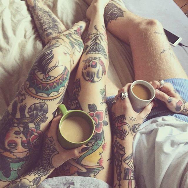 via Instagram  (@frnksson) (@wastedhappyyouth)  #relationshipgoals #tattooedcouple