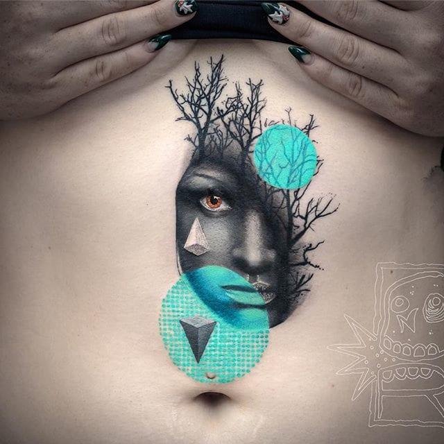 Stomach tattoo by Chris Rigoni