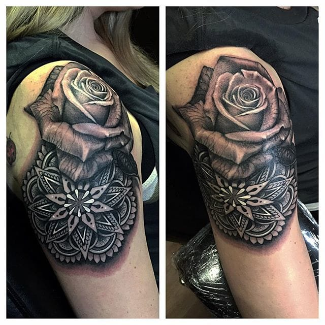 Cool geometric mandala with rose #RyanAshleyMalarkey