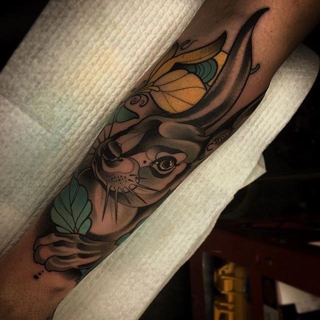Rabbit tattoo by Conor Wearn