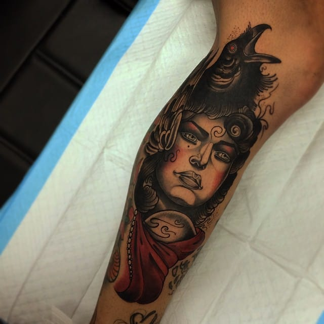 Awesome girl head with raven. Tattoo by Conor Wearn.