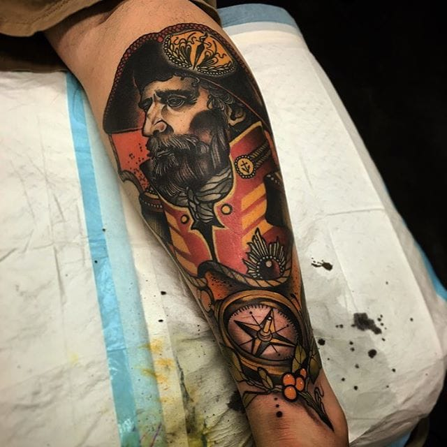 Captain and compass tattoo on leg by Conor Wearn