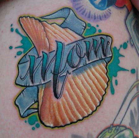 Awesome Potato chip tattoo tribute for Mom by unknown artist. Please let us know if you do!