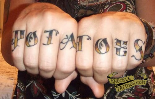 This girl declares her love for it LOUD & CLEAR! Potatoes finger tattoo