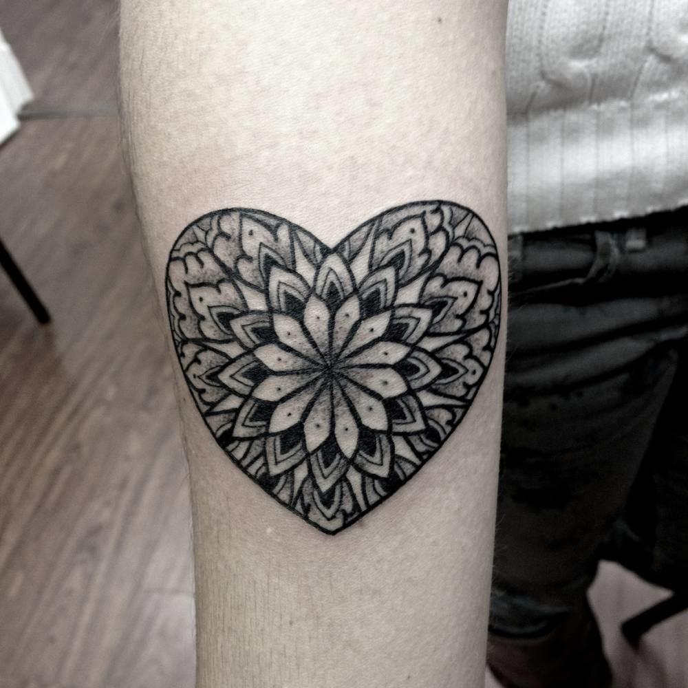 8 Lovely Heart Mandala Tattoos